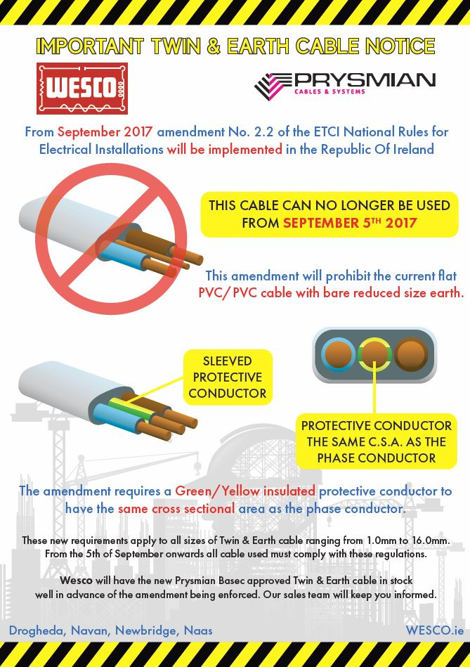 new twin earth wiring rules wesco electrical ltd rh wesco ie house wiring rules uk electrical house wiring rules